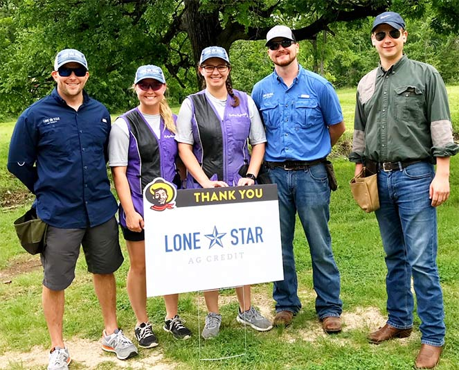 Lone Star Ag Credits team at a sporting clay shoot benefitting the State Fair of Texas Youth Livestock Show and Scholarship program.
