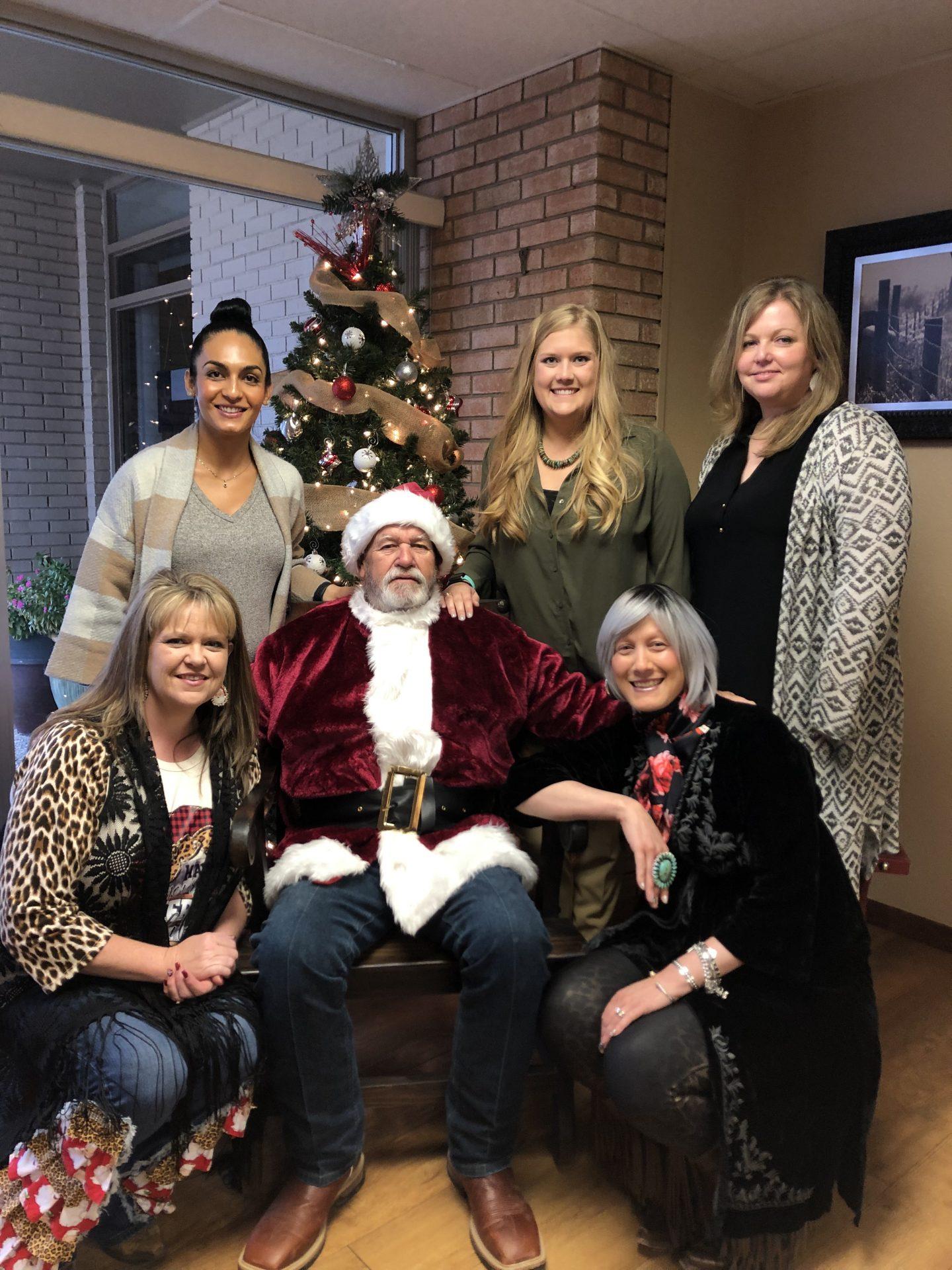 Lone Star Ag Credit Lampasas office staff at Christmas.