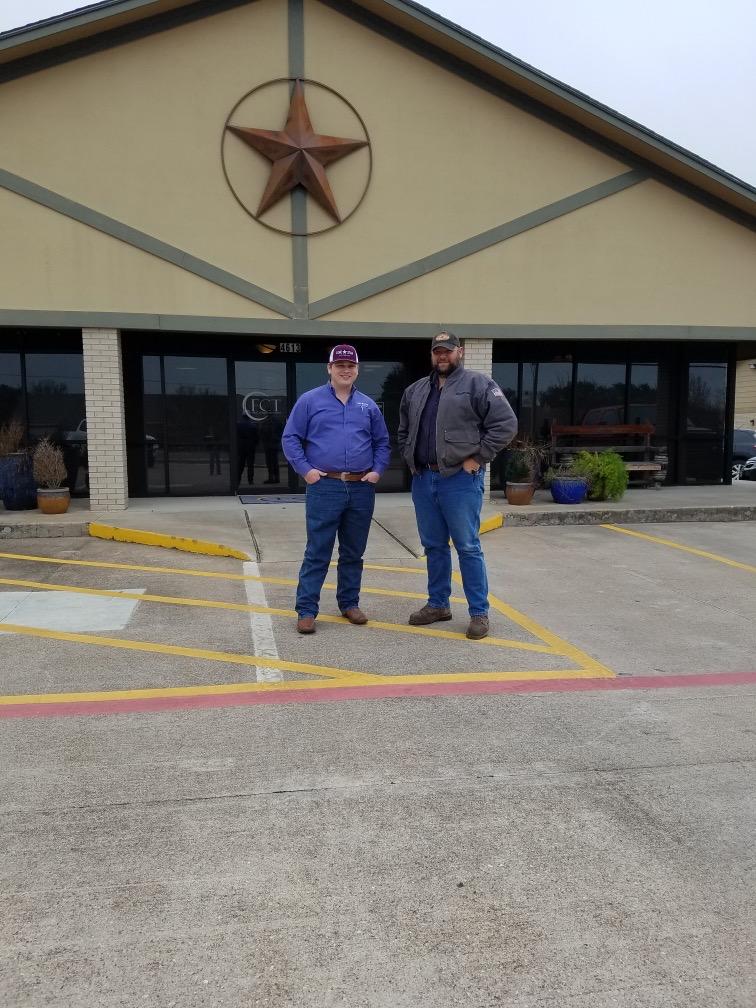 Garrett Edward with customer