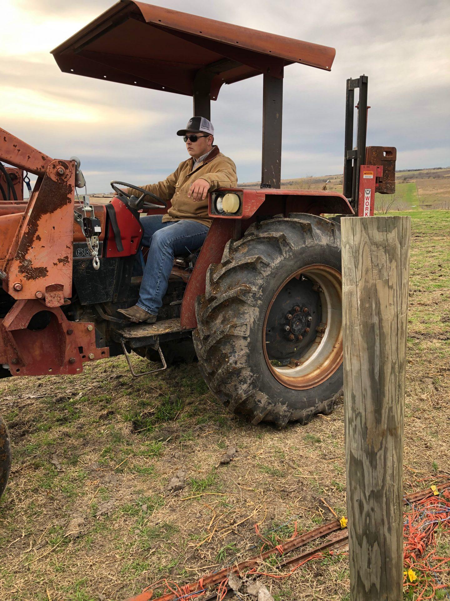 Garrett Edwards on tractor