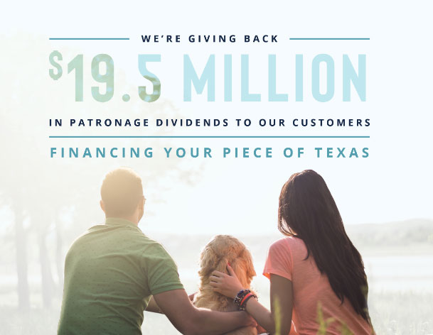 Family holding dog on patronage ad for Lone Star Ag Credit declaring 19.5 million paid back to borrowers in 2020.